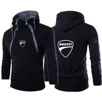 new ducati car logo printing 2021 mens double zipper fashion sportswear casual harajuku clothing street hip hop mens pullover