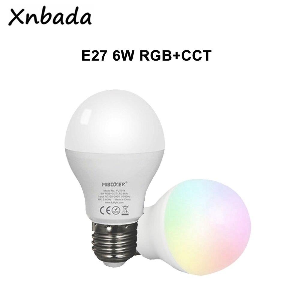 Miboxer (Milight) 2,4G FUT014 E27 6W RGB + CCT lámpara de bombilla LED AC100 ~ 240V 50/60Hz casas de aplicación barras de restaurantes