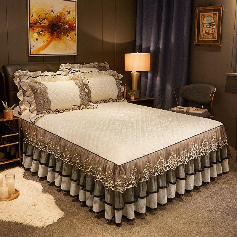 طقم أغطية سرير من الفانيلا ، تنورة دانتيل مخملية فاخرة ، ملاءة سرير ، غطاء وسادة ، بيج ، بنفسجي وبني ، مجموعة جديدة