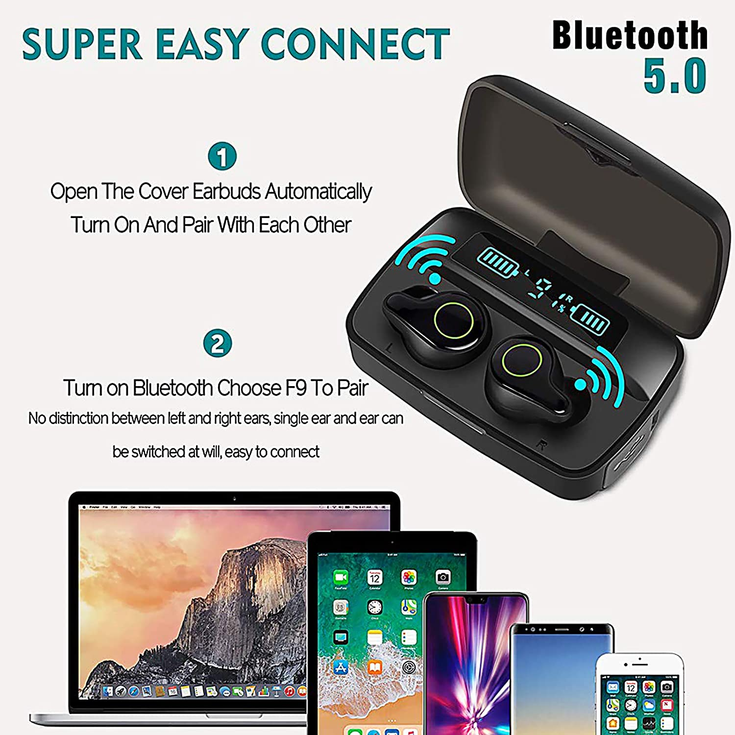 Waterproof Wireless Earbuds Bluetooth 5.0 Headphone with 2200mAh Rechargeable Case 156H Playtime Hi-Fi Stereo Sound IPX7 In-Ear enlarge