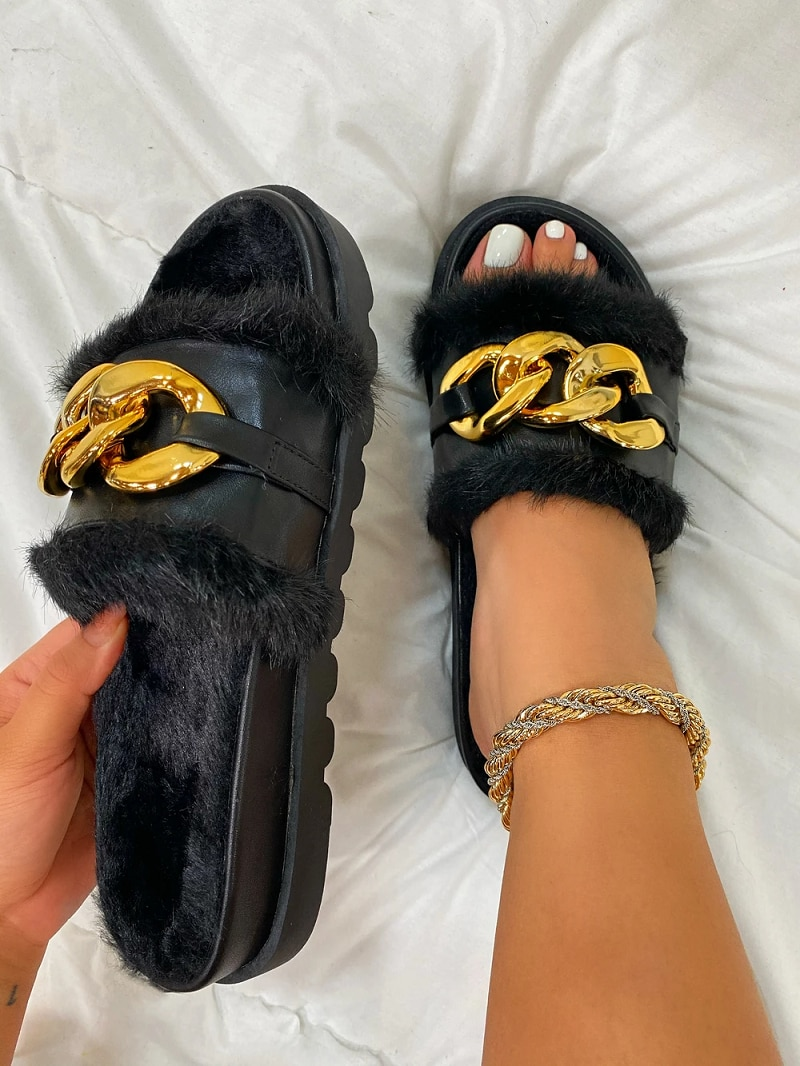Women Fashion Gold Buckle Sandals Platform Wedges Heel Solid Furry Non-Slip Slides Outside Sexy Shoes Ladies Slippers Hot