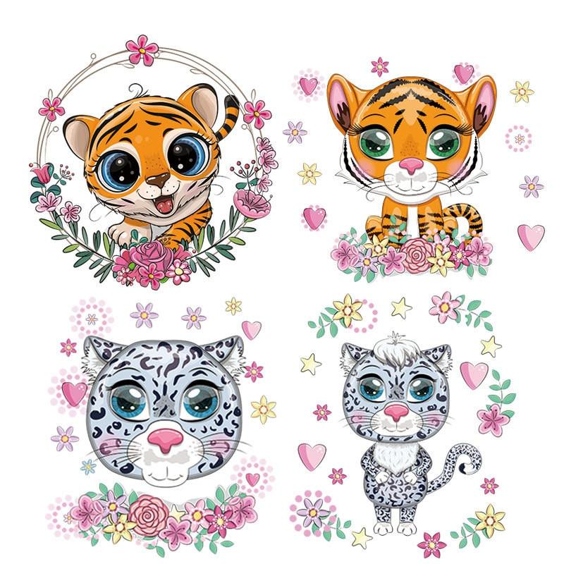 Нашивки с тигром, термотрансферные полосатые наклейки с утюгом для одежды, аппликации с горячим прессом для футболок