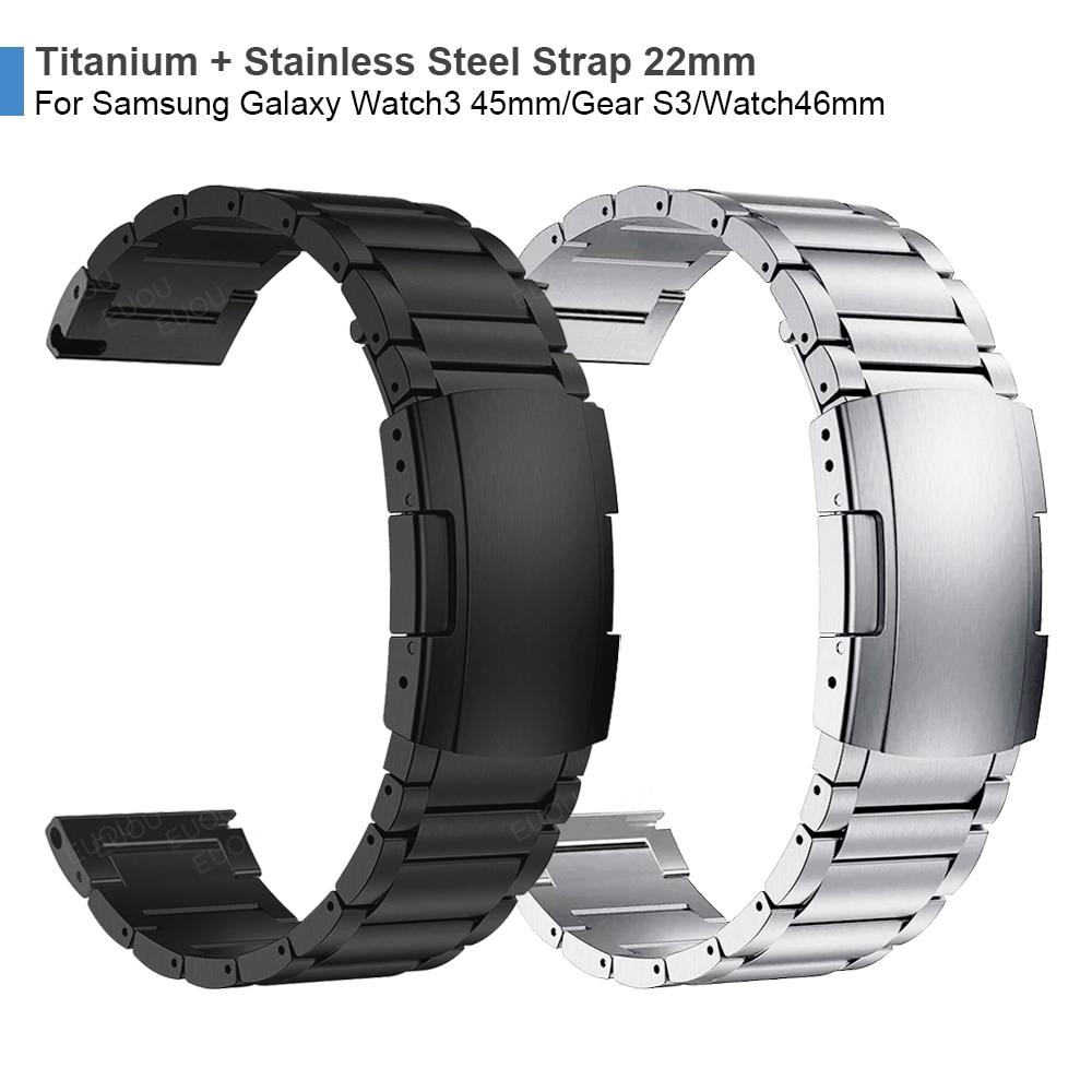 Titanium + Metal Steel Clasp Strap For Samsung Galaxy Watch 3 45mm Band GalaxyWatch 46mm/Gear S3 Watchband Bracelet Wristband
