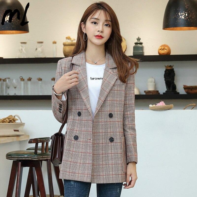 Moda vintage xadrez blazers estilo arte feminina solta todos os jogos roupas casuais coreano de manga comprida feminino elegante jaqueta casual