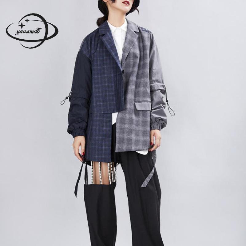 المرأة بليزرز معطف الربيع الخريف الإناث دعوى جاكيتات الملابس نمط طويل زر واحد المرقعة السيدات ملابس خارجية Clothe H187