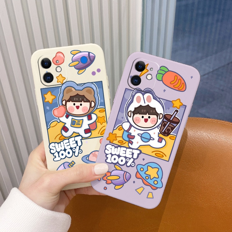 Cartoon Girl Pattern Case For iPhone 12 Pro Max 11 X XS XR XSMAX SE2020 8 8Plus 7 7Plus 6 6S Plus Liquid Silicone Cover  - buy with discount