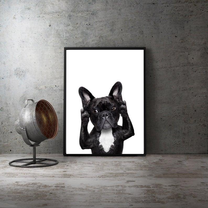 Pug dog Art canvas Poster Home Decor 12x18 24x36inch