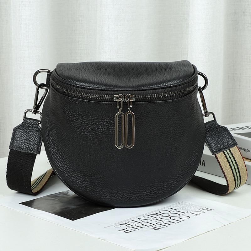 Luxury Fashion Women Crossbody Bag Genuine Leather Semicircle Saddle Bags Soft Leather Shoulder Bags For Ladies Handbags Designe