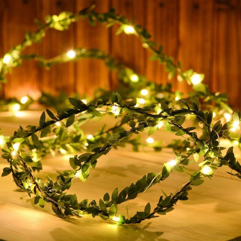 Гирлянда из зеленых листьев, Светодиодная гибкая медная гирлянда из искусственных листьев винограда для украшения рождества, свадьбы, вече...