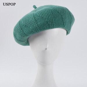 USPOP 2020 Women berets winter wool hats thick warm knitted beret hat