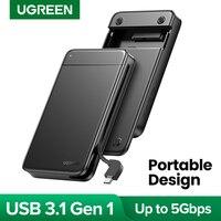 Чехол для жесткого диска UGREEN, чехол 2,5 SSD SATA на USB HDD Caddy, портативный чехол для жесткого диска с фиксированным кабелем, док-станция для внешнег...