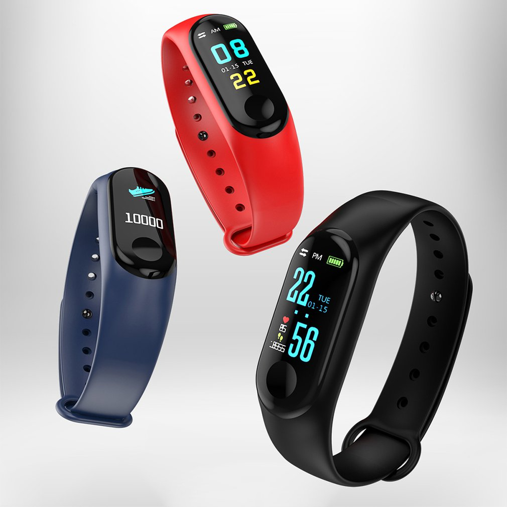 2020 M3  Smart Wristband Color Screen Smart Band IP67 Waterproof Blood Pressure Heart Rate Activity Fitness Smart Bracelet