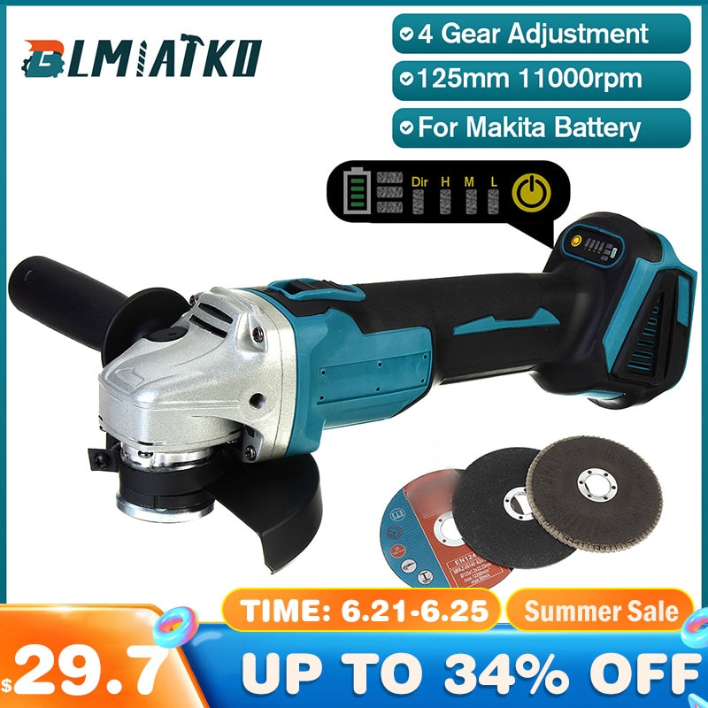 AliExpress - BLMIATKO 125mm 4 Speed Brushless Impact Angle Grinder with Grinding Disc for Makita 18V Battery Cutting Machine Polisher