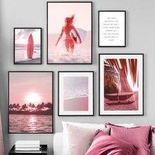 Tabla de surf rosa para playa, mar, árbol de barco, arte de pared, lienzo impreso, pintura, carteles nórdicos e impresiones, imágenes de pared para decoración para sala de estar