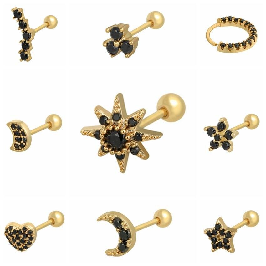 1Pair 925 Sterling Silver Black Zircon Stud Earrings for Women Piercing Earrings 2020 Simple Gold Rose Gold Cartilage Earrings недорого