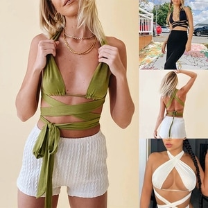 Women's Pure Cotton Tube Top Lace-Up Wrapped Chest Halter Sexy Tops