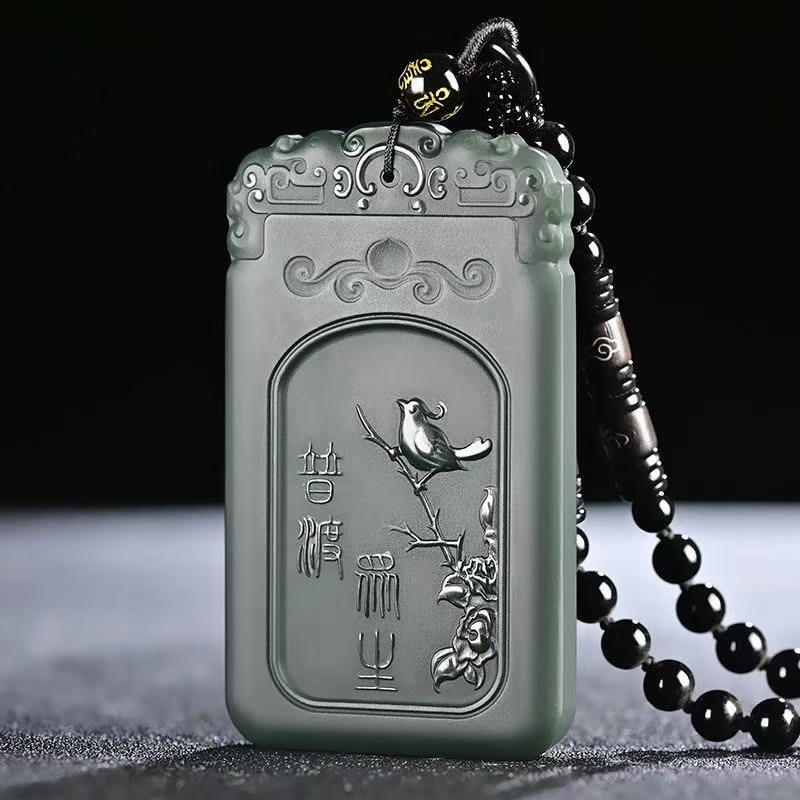 Wonderful Four Arm Numen Amulet Carven Magpie Pendant Netsuke Lucky Necklace Talisman By He Tian Jade