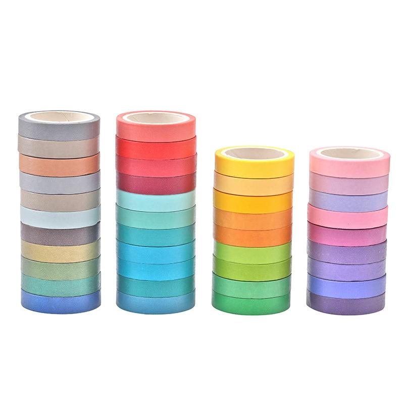 Cinta adhesiva arcoíris, cinta adhesiva sólida DIY para manualidades, cinta adhesiva decorativa, pegatina Washi, Cinta adhesiva de Scrapbooking, papelería