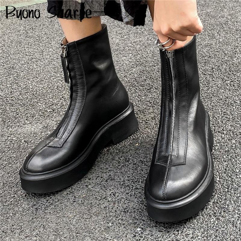حذاء نسائي بنعل سميك من الجلد الطبيعي ، حذاء كاجوال مريح ، قصير ، سحاب أمامي ، لفصلي الخريف والشتاء