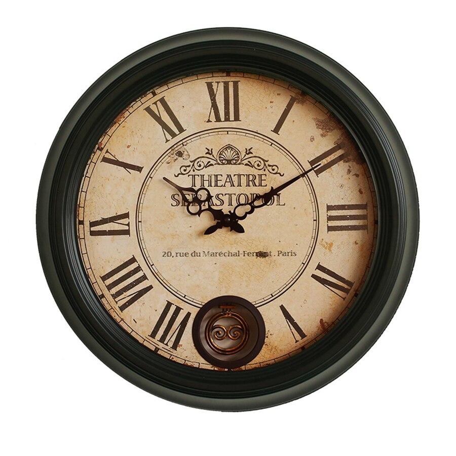 Shabby rétro horloge murale en bois Vintage rustique silencieux horloge murale montre à la main Antique Reloj Pared maison cuisine chambre décor EE50