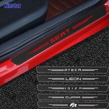 4pcs carbon fiber car door sticker decals sticker for seat cupra leon ibzia ateca