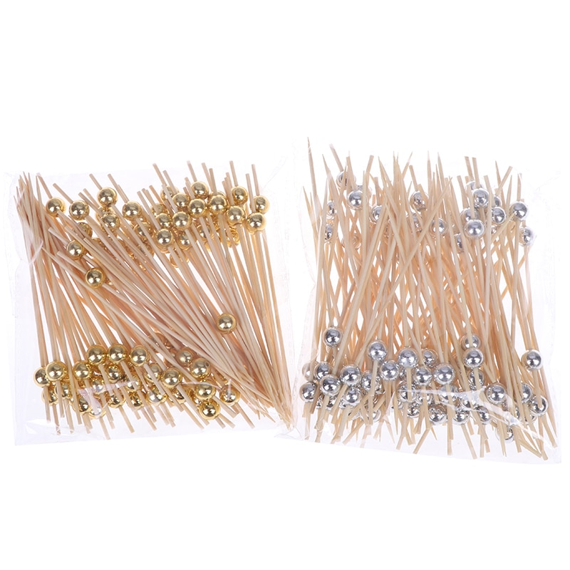 100 PCS Bamboo Sticks Fruit Snack Fork Pearl 12cm Wooden Toothpick Cocktail Food Skewer Picks Party Wedding Festival Supplies