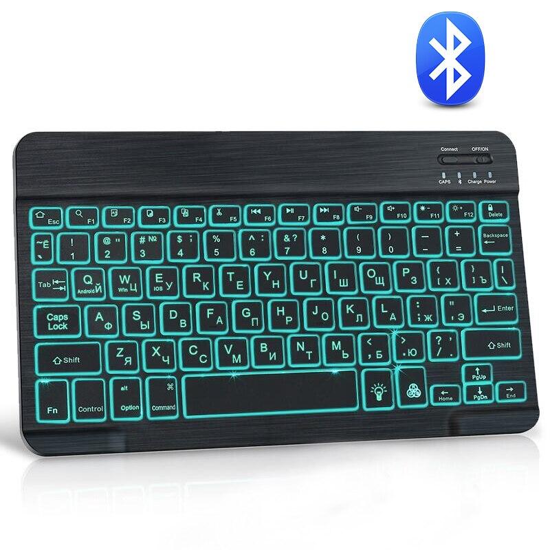 لوحة المفاتيح بلوتوث الروسية الاسباني لوحة المفاتيح اللاسلكية المطاط كيكابس قابلة للشحن RGB لوحات المفاتيح لباد الهاتف المحمول