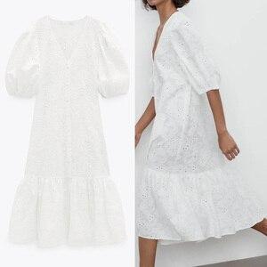Dress 2021 Za White Embroidery Ruffle Midi Dress Women Puff Short Sleeve Long Dresses Ladies Oversized Button V Neck Dresses