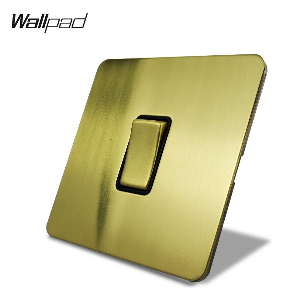Wallpad, interruptor basculante ligero de pared eléctrico de 1 sentido o 2 vías, latón cepillado, Panel de acero inoxidable, botón de Metal, dorado satinado
