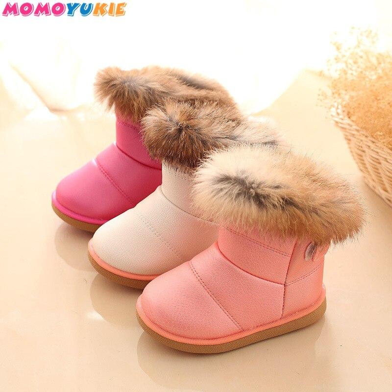 Children Warm Boots Boys Girls Winter Snow Boots with Fur 1-6 Years Kids Snow Boots Children Soft Bo