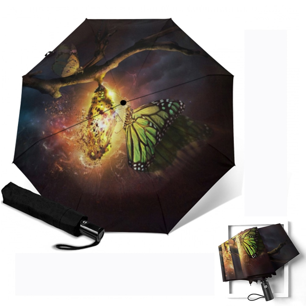 Paraguas con mango esmerilado para Mujer, sombrilla con estampado de mariposas, automático,...