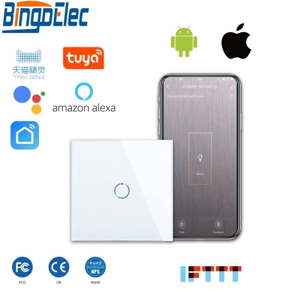 Bingoelec 1 عصابة 1 طريقة WiFi الذكية التبديل والزجاج والكريستال لوحة الجدار ضوء التبديل الذكية أتمتة المنزل اللاسلكية العمل ل اليكسا
