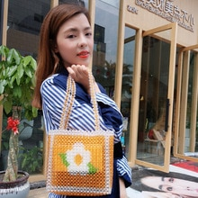 22x20CM Flower Beaded Bag Yellow Pearl Female Women Messenger Bags Double Use Shoulder Bag Handmade a5984