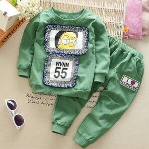 2 предмета, повседневная одежда для маленьких мальчиков весенне-осенний костюм с длинными рукавами хлопковые комплекты детская одежда для ...