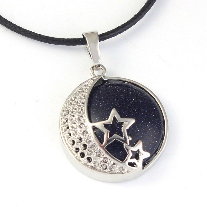 Colgante de Piedra de San Valentín con forma de estrella bañada en plata y luna creciente de estilo étnico con cuentas de moda