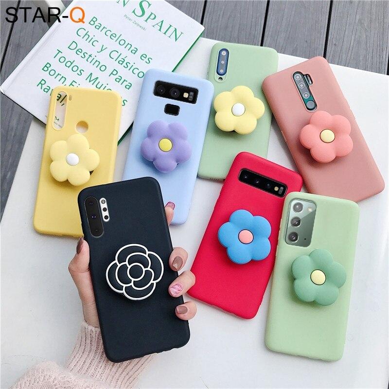 3D phone holder stand silicone case for samsung galaxy s10 lite e s9 s8 plus 5g s20 fan edition ultra s7 edge s10e cartoon cover