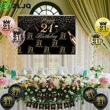 ZLJQ 21st حفلة عيد ميلاد زينة عدة الذهب الأسود خلفية القماش عدد 21 بالونات مطبوعة راية العلم لوازم عيد ميلاد
