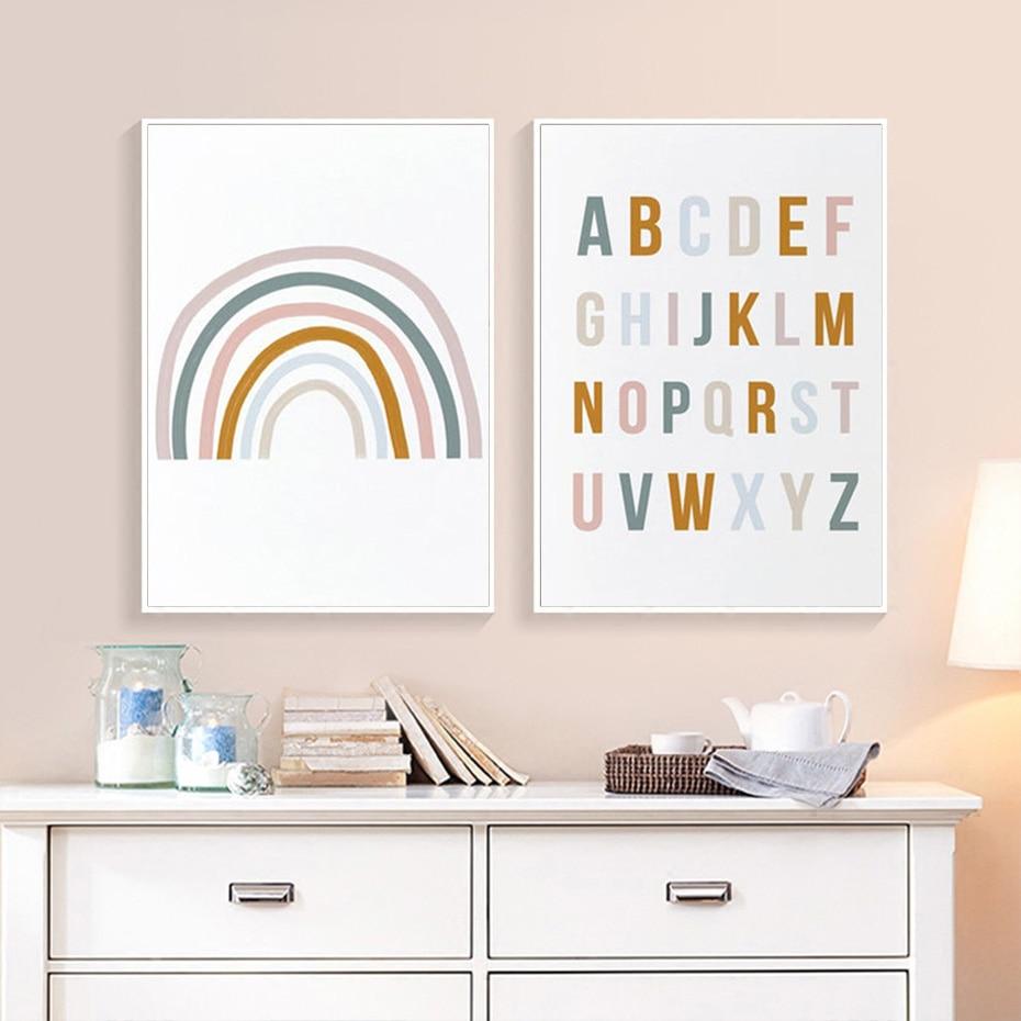Decoración del hogar de la habitación Rainbow Nursery abecedario ABC cartel cuadro...