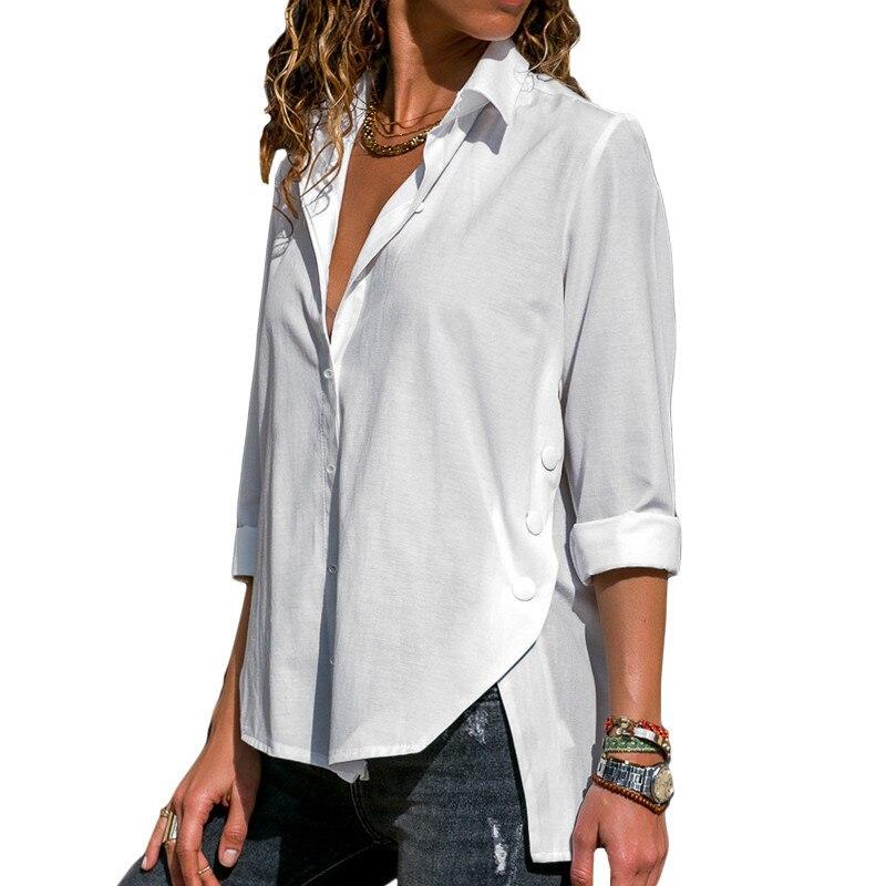 Blusa de manga larga para mujer, nueva moda de otoño 2018, camisa informal de oficina para mujer, camiseta lisa holgada, Blusas con botones elegantes para mujer