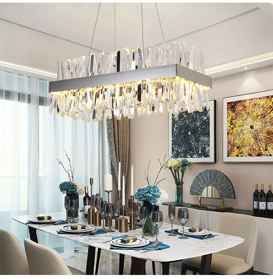 Lámpara de araña de Cristal de lujo, accesorio de luz LED de...