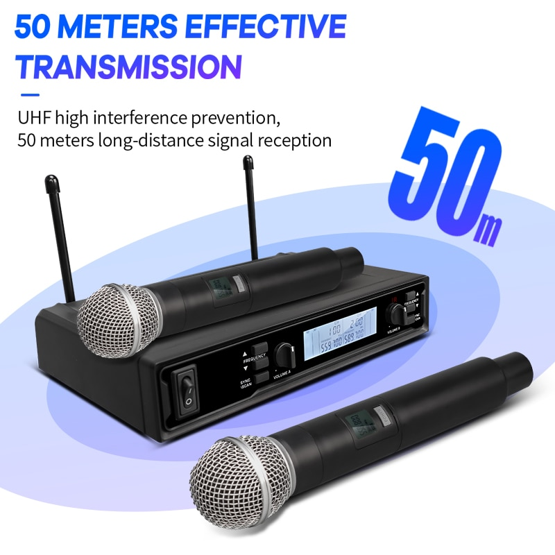 TKL Wireless Microphone System 2 Channel UHF Wireless Microphone Auto Scan With Dual Handheld Mic Range 164ft for Church Karaoke enlarge