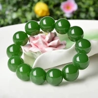 natural green jade 18mm beads bracelet adjustable chinese hand carved fashion charm jewelry amulet accessories men women gifts