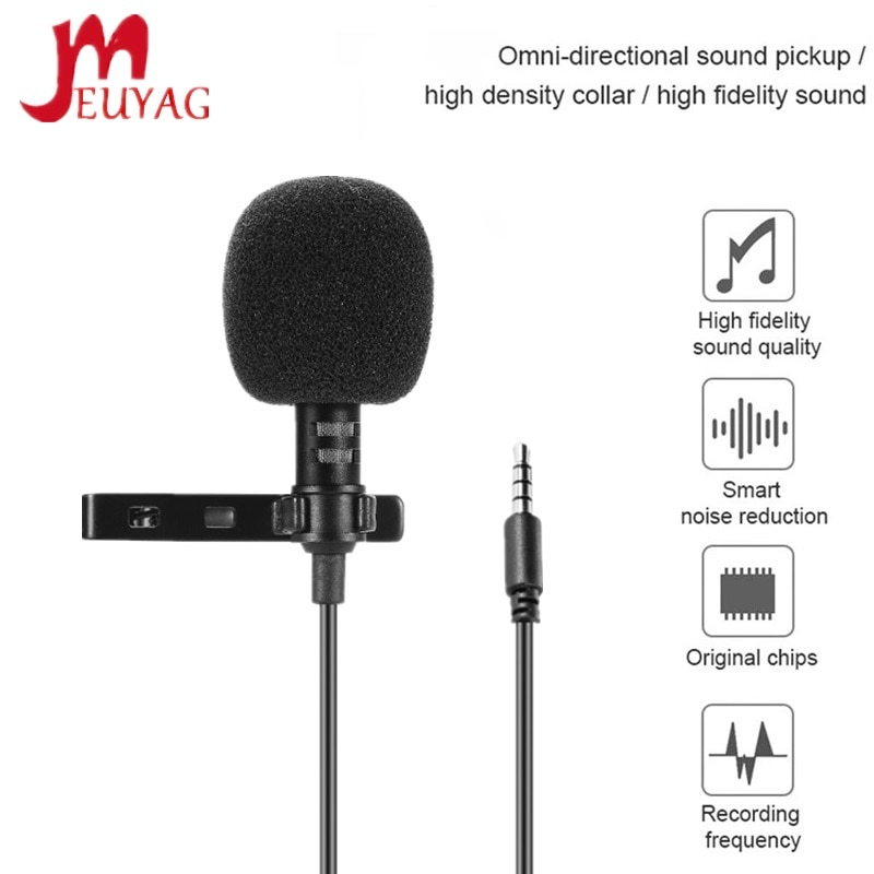 MEUYAG 3.5mm jack Mini Portable 1.5M Microphone Clip tie Collar Condenser audio Wired Mic For Comput