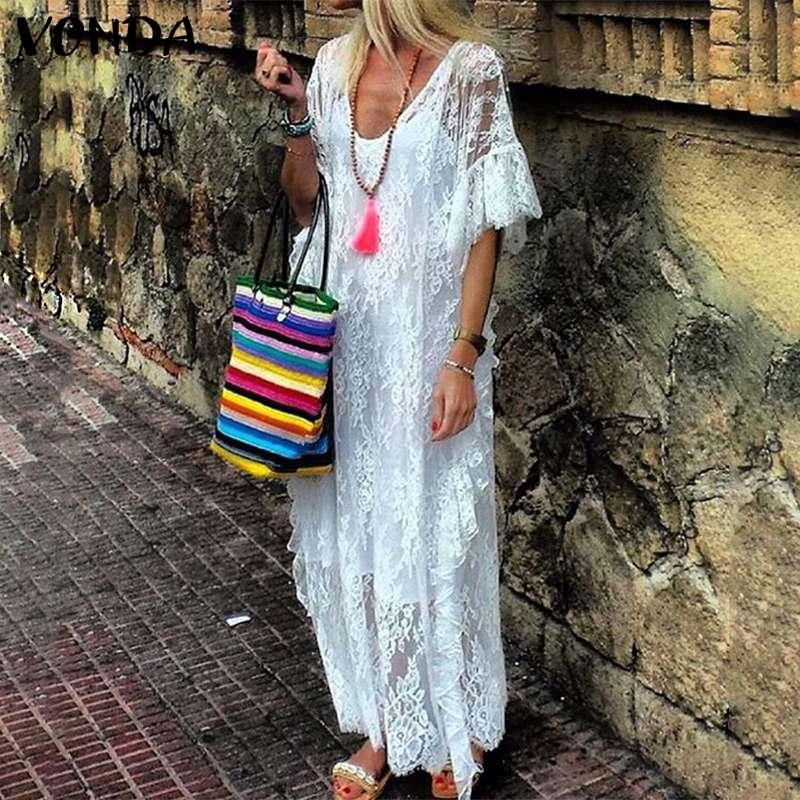 Maxi Vestido de playa más VONDA mujeres de verano 2020 Sexy cuello pico manga de mariposa Vestidos ahuecados encaje partido túnica de mujer
