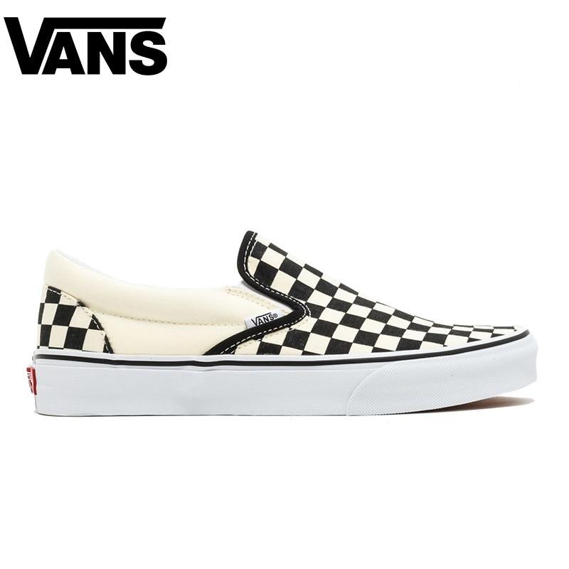 Original Vans Old Skool Men Skateboarding Shoes Comfortable Outdoor Black Plaid Pattern Women Canvas Sneakers Size 36-44