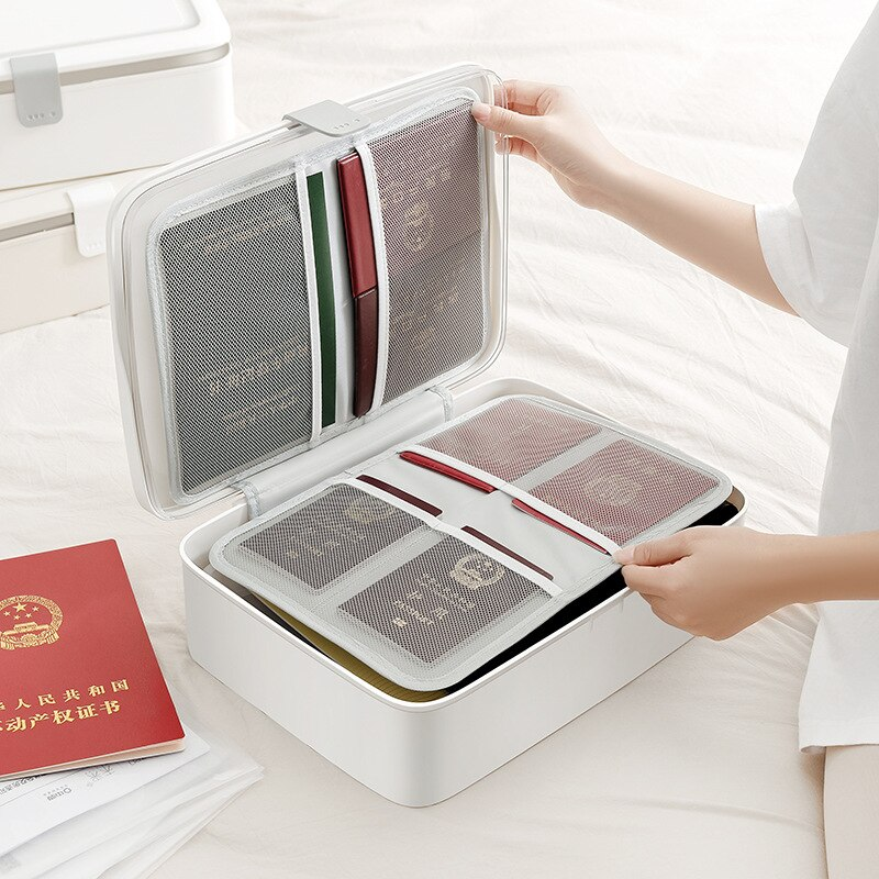 Larger Capacity Documents Storage Boxs Certificate Card Wallet  Household Key Passport Bags Office Multilayer File Organize Case