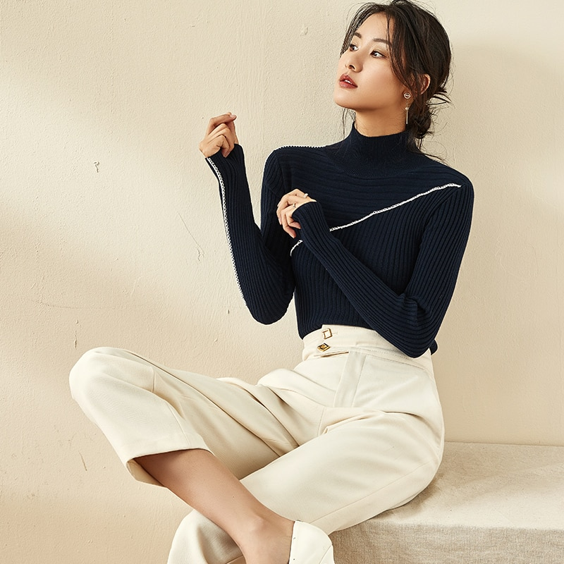 Knitwear Autumn New Women's 2021 High Collar Slim Fit Long Sleeves Pullover Thickened Base Sweater W
