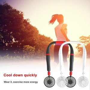 Hand-held Hanging Neck Two-in-one Fan Silent Sports Household Rotary Fan Adjustable Stronger Wind Built-in Battery