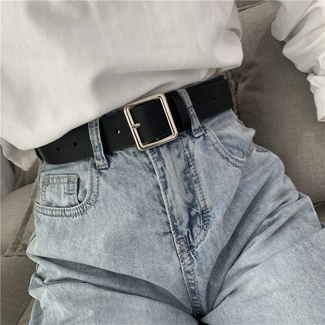 2020 PU Leather Belt For Women Square Buckle Pin Buckle Jeans Black Belt Chic Luxury Brand Ladies Vintage Strap Female Waistband