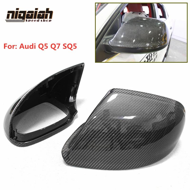 Para Audi Q5 2010-2017 Q7 SQ5 cubierta de espejo lateral de fibra de carbono tapa de espejo retrovisor reemplazo Original con/sin asistente de carril